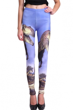 Blue Stylish Womens Dinosaur Slimming Animal Print Leggings