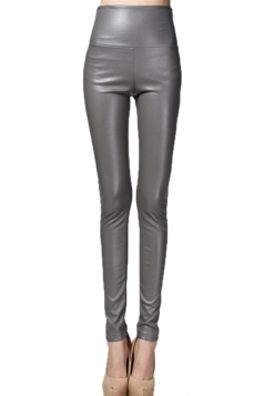 Gray Elegant Womens Plain High Waisted Liquid Leather Leggings