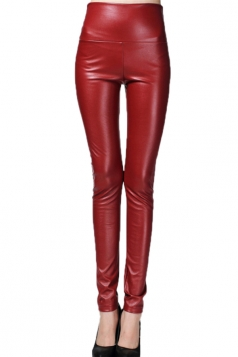 Ruby Elegant Womens Plain High Waisted Liquid Leather Leggings