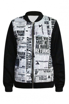 Gray Chic Womens Newspaper Printed Crew Neck Jacket