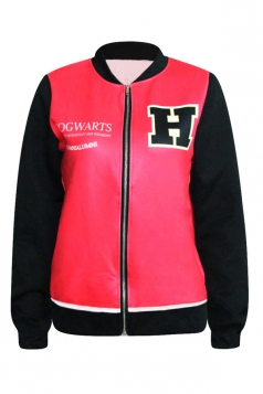 Red Cool Womens Hogg Watts School Badge Printed Jacket