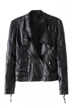 Black Ladies Cool PU Leather Zipper Stand Collar Blazer