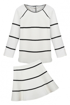 White Womens Chic Elegant Stripes Long Sleeves Skirt Suit