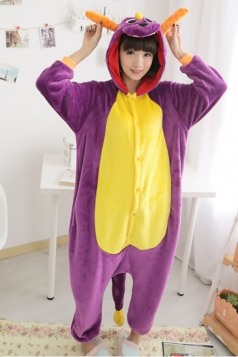 Purple Cute Womens Dinosaur Jumpsuit Flannel Pajamas Costume