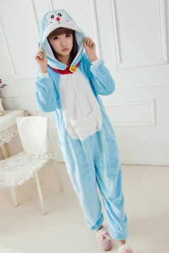 Blue Cute Comfortable Flannel Pajamas Doraemon Jumpsuit Costume
