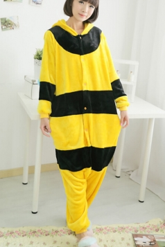 Yellow Cute Comfortable Flannel Bee Jumpsuit Pajamas Costume