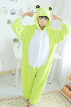 Green Cute Ladies Flannel Pajamas Comfortable Frog Jumpsuit Costume