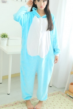 Blue Ladies Pajamas Happy Cat Comfortable Flannel Jumpsuit Costume
