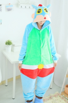 Blue Cute Ladies Flannel Pajamas Crayon Shin-chan Jumpsuit Costume
