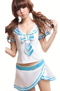 White Cute Womens Uniform Cheerleader Halloween School Girl Costume