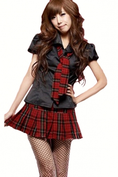 Black Cute Womens Halloween Plaid Short Sleeve School Girl Costume