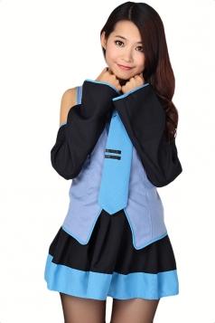 Blue Cartoon K-On Cosplay Sexy School Girl Halloween Sexy Costume