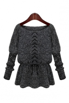 Black Modern Womens Crew Neck Ruffle Lace Up Plain Pullover
