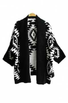 Black Elegant Ladies Long Sleeve Aztec Cardigan Sweater Coat