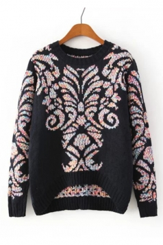 Navy Blue Stylish Womens High Low Totem Patterned Pullover Sweater