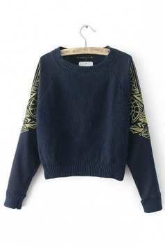 Navy Blue Cool Ladies Long Sleeve Crew Neck Patterned Pullover Sweater