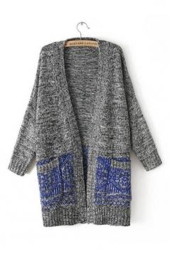 Blue Elegant Ladies Long Sleeve V Neck Cardigan Sweater Coat