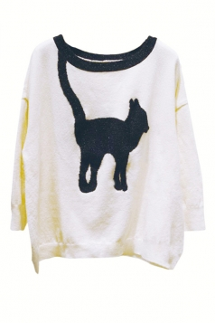 Beige Womens Cute Cat Knitting Loose Patterned Pullover Sweater
