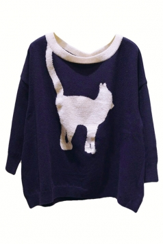 Navy Blue Womens Cute Cat Knitting Loose Patterned Pullover Sweater