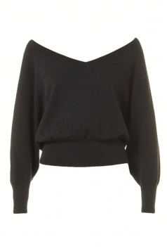 Black Off the Shoulder Sexy Ladies Warm V Neck Plain Pullover Sweater