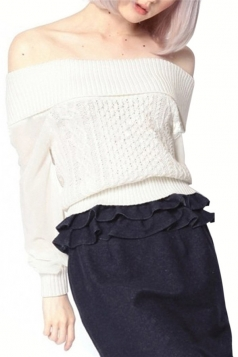 White Sexy Ladies Boat Neck Plain Loose Pullover Sweater