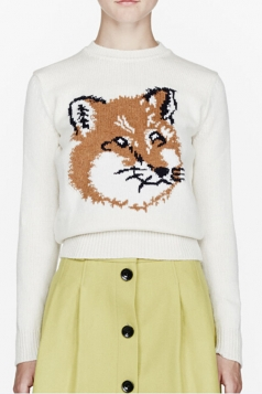 White Womens Fox Patterned Long Sleeves Crew Neck Pullover Sweater