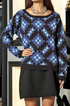 Blue Sexy Ladies Argyle Sweater Crew Neck Pixel Patterned Pullover