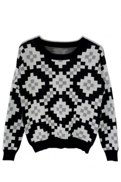 Black Sexy Ladies Argyle Sweater Crew Neck Pixel Patterned Pullover