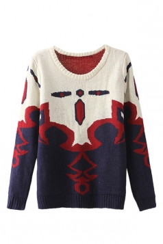 Beige Elegant Ladies Crew Neck Abstract Patterned Pullover Sweater