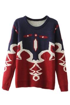 Red Elegant Ladies Crew Neck Abstract Patterned Pullover Sweater