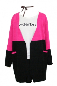 Rose Red Pretty Ladies Cardigan Color Black Long Sleeve Sweater Coat