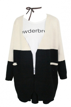 White Pretty Ladies Cardigan Color Black Long Sleeve Sweater Coat