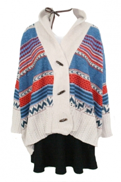Blue Vintage Womens Batwing Sleeve Cardigan Poncho Sweater Coat