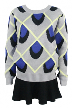 Blue Pretty Ladies Peacock Grain Patterned Pullover Sweater