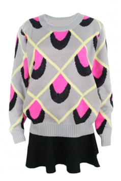 Rose Red Pretty Ladies Peacock Grain Patterned Pullover Sweater