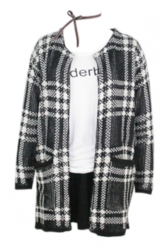 Black Elegant Womens Plaid Long Sleeve Cardigan Sweater Coat