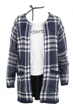 Navy Blue Elegant Womens Plaid Long Sleeve Cardigan Sweater Coat