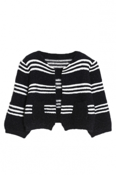 Black Pretty Womens Lantern Sleeve Strip Patterned Cardigan
