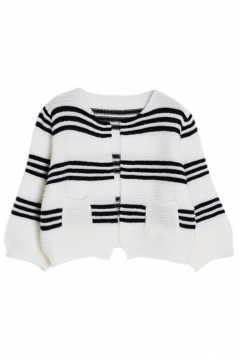 White Pretty Womens Lantern Sleeve Strip Patterned Cardigan