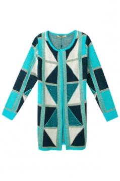 Blue Chic Womens Argyle Color Block Cardigan Sweater Coat