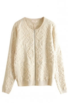 White Chic Ladies Peace Dove Long Sleeve Patterned Cardigan Sweater