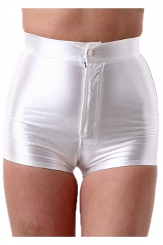 White Elegant Ladies Plain Liquid High Waist Short