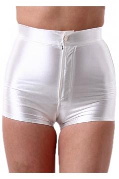 White Elegant Ladies Plain Liquid High Waist Short