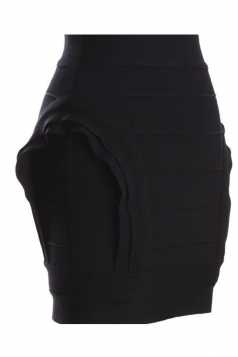 Black Sexy Womens High Waisted Irregularly Bandage Pencil Skirt