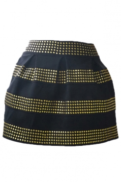 Gold Womens Rivet Stripes Mini Skirt
