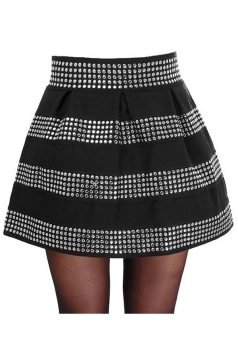 Silvery Womens Rivet Stripes Mini Skirt