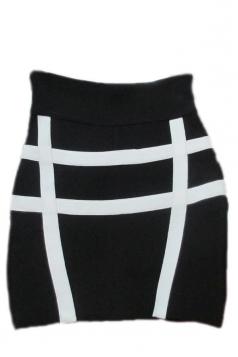 Black Sexy Ladies Bandage Color Block Stripe Chick Pencil Skirt