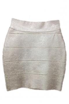 Silvery Bandage Fancy Womens Sexy Zipper Pencil Skirt