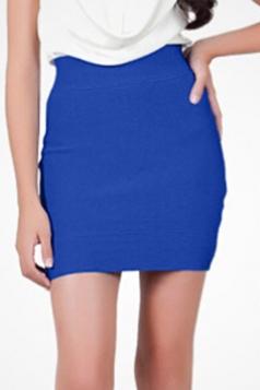 Blue Sexy Ladies Plain Bandage Classic Pencil Skirt