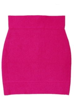 Rose Red Sexy Ladies Plain Bandage Classic Pencil Skirt